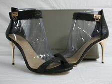 BCBG Max Azria Size 10 M Polaris Black Leather Open Toe Heels New Womens Shoes