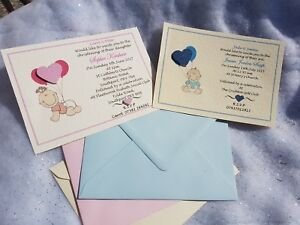 25 Personalised Christening Baptism Invitations Childrens Baby Boy Girl Twins