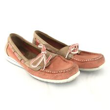 Clarks Artisan Womens Boat Shoes Leather Upper Lace Up Coral Pink Size 7.5W
