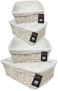 WHITE WICKER WILLOW STORAGE BASKETS W LINING EASTER GIFT MAKE YOUR OWN HAMPER