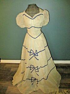 Vintage Prairie Peasant Frilly Shear Swiss Dot BOHO Maxi Dress Size 2 to 4 Women