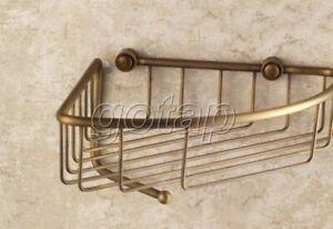 Antique Brass Wall Mounted Soap / Sponge Corner Shower Storage Basket Gba078