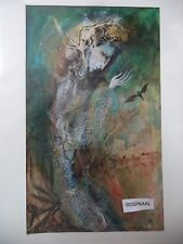 Cuban Artist Charo Hand Painting SIGNED HALLOWEEN PERSON BECKONING BAT GOLD HM