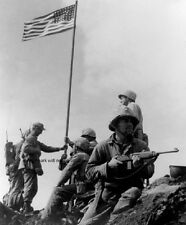 "U.S. Marines during First Iwo Jima Flag Raising 8""x 10"" World War II Photo 316"