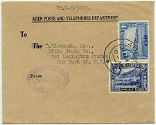 ADEN OFFICIAL POSTMASTER GENERAL OVAL HANDSTAMP on P + T ENVELOPE 3 1/2A to USA
