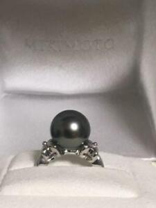 MIKIMOTO Auth PT950 about 10.8mm Black Tahitian Pearl Ring Japanese 7 from Japan