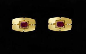 14k Yellow Gold Men's Cufflinks With Natural Faceted Ruby & Diamond Gemstone