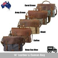 Men Briefcase Tote Laptop Mans Shoulder Messenger Bag Satchel Canvas&Leather