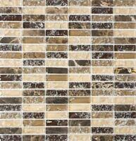 Glasmosaik Naturstein braun mix Wand Küche Bad WC Art:WB87-S1255 1 Matte