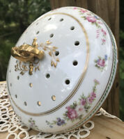 """Vintage Vented China Casserole Lid Replacement approx.7"""" Gold Floral Top Only"""