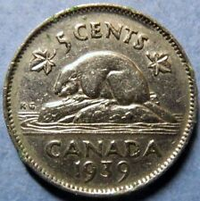 *Vintage 1939  CANADA  5 CENTS COIN, VeryFine Circulated KING GEORGE V COIN