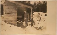 Occupational Real Photo Postcard RPPC ~ Man Carrying Two Buckets In Snow