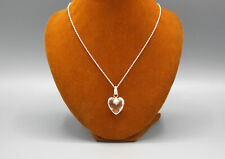 Flame Crystal Heart Sterling Silver Pendant