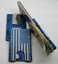 American Flag,  Aluminum Wallet/Credit Card Holder, RFID Protection, Blue
