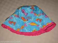 UV SKINZ GIRLS UPF 50 + SWIMWEAR REVERSIBLE BLUE FISH BUCKET HAT SIZE 7 NEW