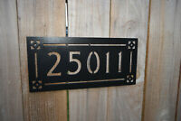 """Address Sign Arts and Crafts Metal Sign 5 Numbers - black powder coated 5""""tall"""