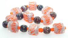 OliveStuart Handmade Lampwork Beads 17 purple/pink tiles/round