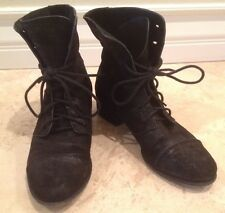 "SIGERSON MORRISON ""BELLE"" Combat Boots Lace Up Booties Black Suede Leather 8 B"