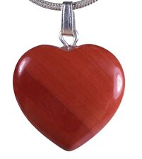 Rojo Jaspe Colgante Corazón Colgante Corazón Gema con Plateado Ojal 2x2cm