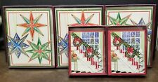 Caspari Boxed Christmas Cards, stars & banisters 5 boxes of 16