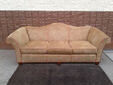 Stickley Fargo Model Sofa Couch Tan Tooled-Look  Camelback Style Red Piping