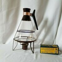 Vintage Glass Coffee Pot Carafe Stand Candle Warmer Patina Blue Color