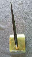 Vintage Sheaffer's Green Onyx Marble Base Pen Desk Set