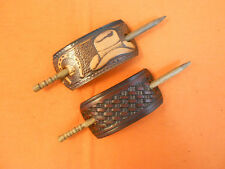 2 Leather Hair Barrettes w Sticks, Ponytail Country Cowboy Hat Hand Crafted #192