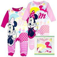 Disney Minnie Mouse Girls 100% Cotton Sleepsuit Girl Babygrow Pyjamas GIFT BOX