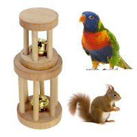Natural Wood Unicycle Dumbell Bell Roller Chew Toys For Pet Rabbits Hamsters Rat