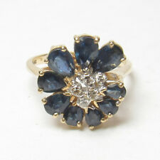 Estate 14K Yellow Gold Natural Blue Pear Shape Sapphire Diamond Ring 2.50 Cts