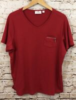 Quacker Factory shirt womens 1X red short sleeve zip rhinestone pocket vneck J8