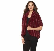 Slinky Brand Faux Fur Cocoon Jacket in Burgundy, XS