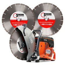 "Husqvarna New K770 14"" Concrete Cutoff Saw + 3 Diamond Blades + Free Shipping"