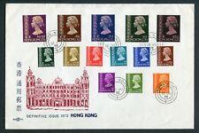 12.06.1973 Hong Kong GB QEII Definitive set on  illust. FDC Unaddressed