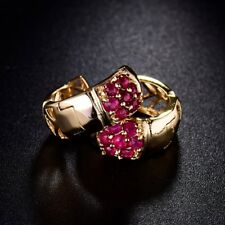 Charms Red Ruby Crystal Jewelry Fashion Vintage Women Gold Filled Hoop Earrings