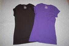 Junior Womens 2 LOT TEE SHIRT Cap Sleeve BLACK & PURPLE Scoop Neck SIZE M 7-9