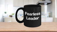 Fearless Leader Mug Black Coffee Cup Funny Gift CEO Boss Pastor Youth Ministry
