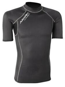 Aropec Mens Compression Short Sleeve Top - Triathlon / Running Sport XS - Black