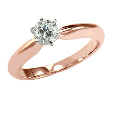 $1,699 Retail 14K Rose Gold 0.59 Ct t.w. Round Diamond Solitaire Ring size 6.5