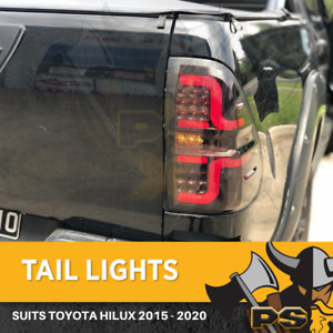 Tail Lights to suit Toyota Hilux 2015 2019 Revo Smoke Black Tailights LED