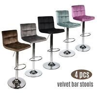 Set of 4 Bar Stools Velvet Adjustable Swivel Kitchen Pub Dining Chair Multicolor