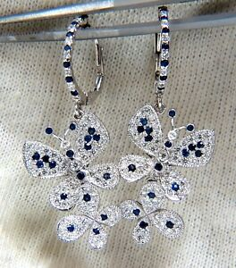 1.90ct Natural Sapphire Diamond Butterfly Dangle Earrings 14kt
