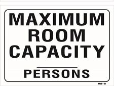 "Maximum Room Capacity 10""x14"" Sign - RS-8"