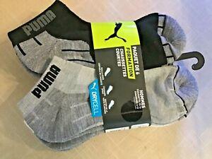 PUMA MEN'S LOW CUT SOCKS  GRAY BLACK WHITE BLUE TRIM 6 pack 10-13 nip