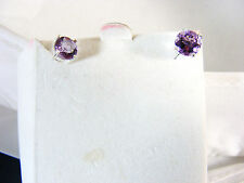 Amethyst, round Ear Rings in 925 Sterling Silver