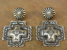 Old Style Navajo Sterling Silver Stamped Santa Fe Cross Earring