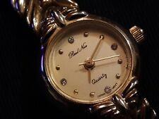 Antique Ladies 'REAL NICE' #3288 Diamonds Gold Tone Quartz Watch /Hong Kong