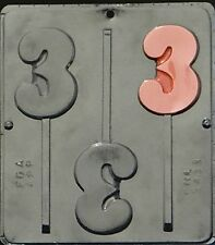 Number 3 Lollipop Chocolate Candy Mold 3# Birthday 3431 NEW