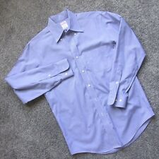 BROOKS BROTHERS MEN CASUAL DRESS SHIRT 14 1/2 BLUE CHECK NON-IRON COTTON